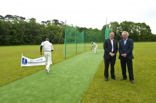 Warren Deutrom Cricket Ireland CEO with Chairman of Tildenet, Joe Downey